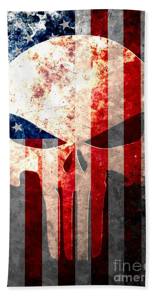 Punisher Beach Towel featuring the digital art Punisher Themed Skull And American Flag On Distressed Metal Sheet by M L C