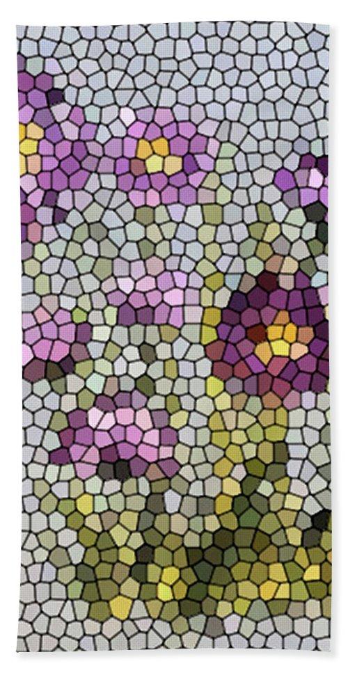 Digital Photo Beach Towel featuring the digital art Purple Asters II by Barbara Griffin
