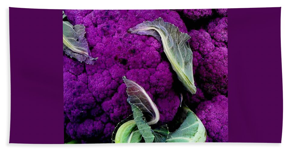 Purple Cauliflower Beach Towel featuring the photograph Purple Cauloflower by Dragica Micki Fortuna