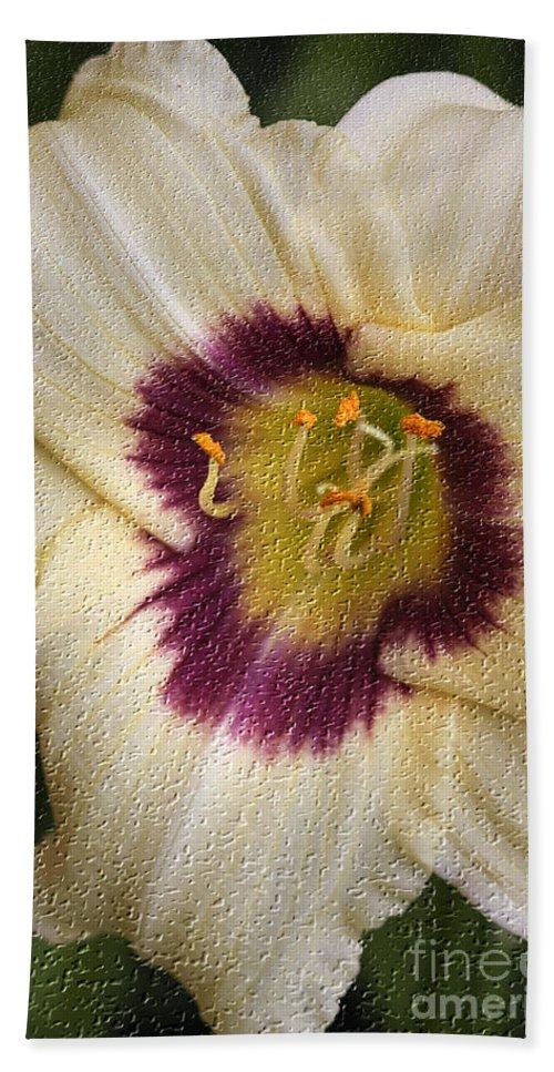 Lilly Beach Towel featuring the digital art Purple Center by Deborah Benoit