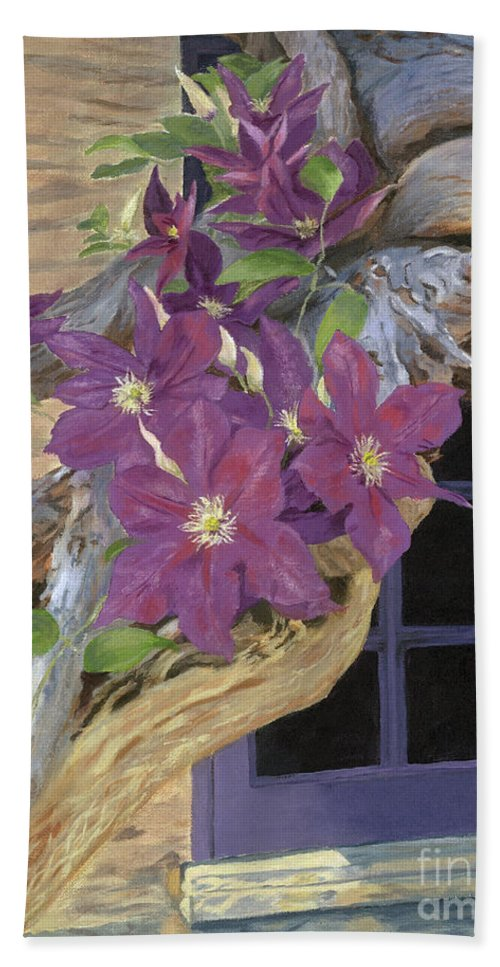 Acrylic Beach Towel featuring the painting Purple Clematis by Lynne Reichhart