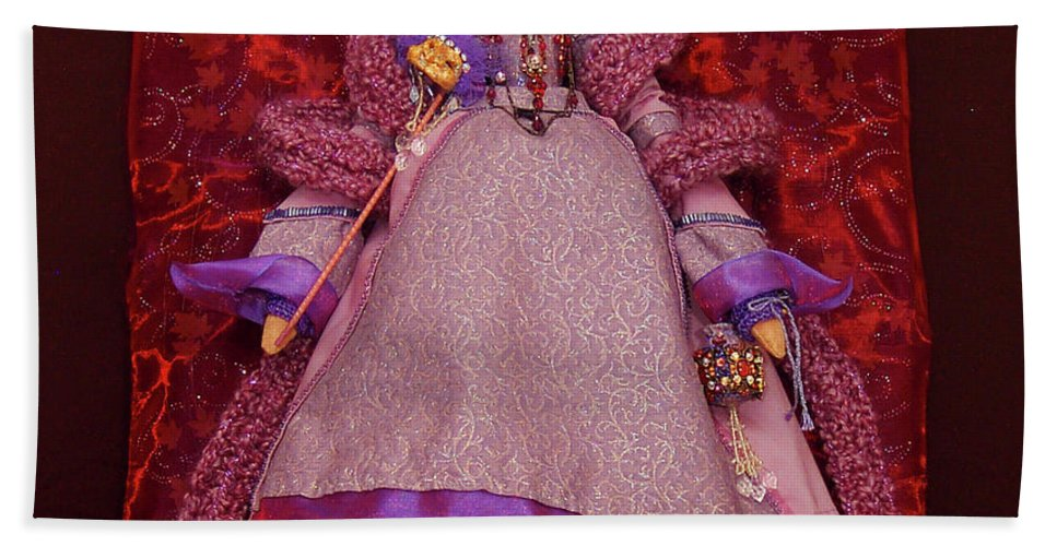 Purple Doll Art Beach Towel featuring the mixed media Purple Doll by Judy Henninger