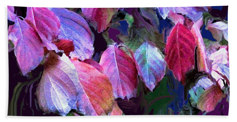 Leaves Beach Towel featuring the photograph Purple Fall Leaves by Ian MacDonald