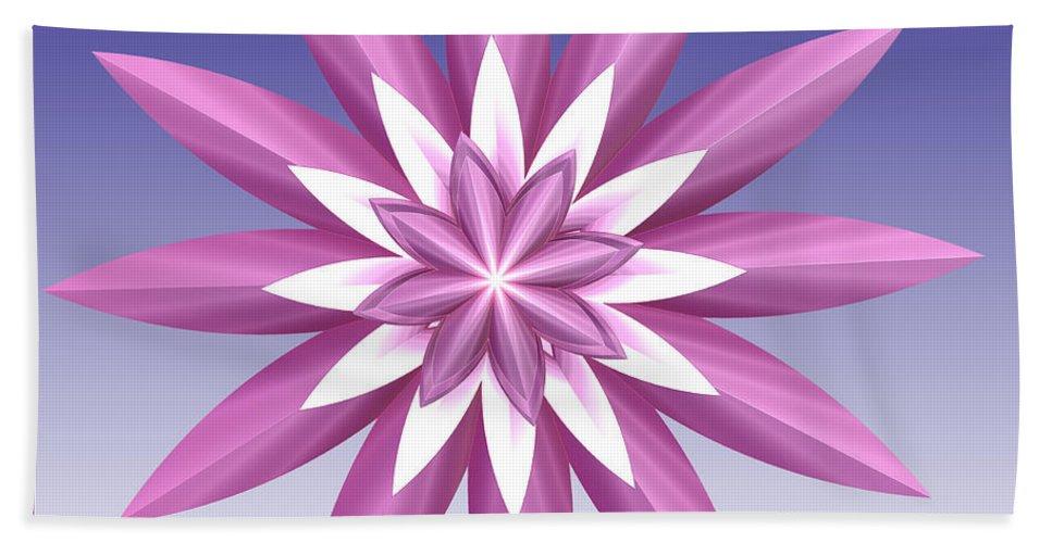 Fractal Beach Towel featuring the digital art Purple Flower by Deborah Benoit