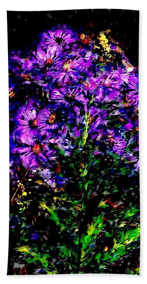 Digital Photograph Beach Towel featuring the photograph Purple Flower Still Life by David Lane