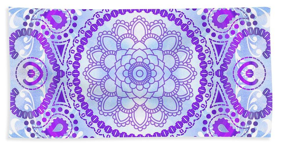 Lotus Beach Towel featuring the digital art Purple Lotus Mandala by Tammy Wetzel