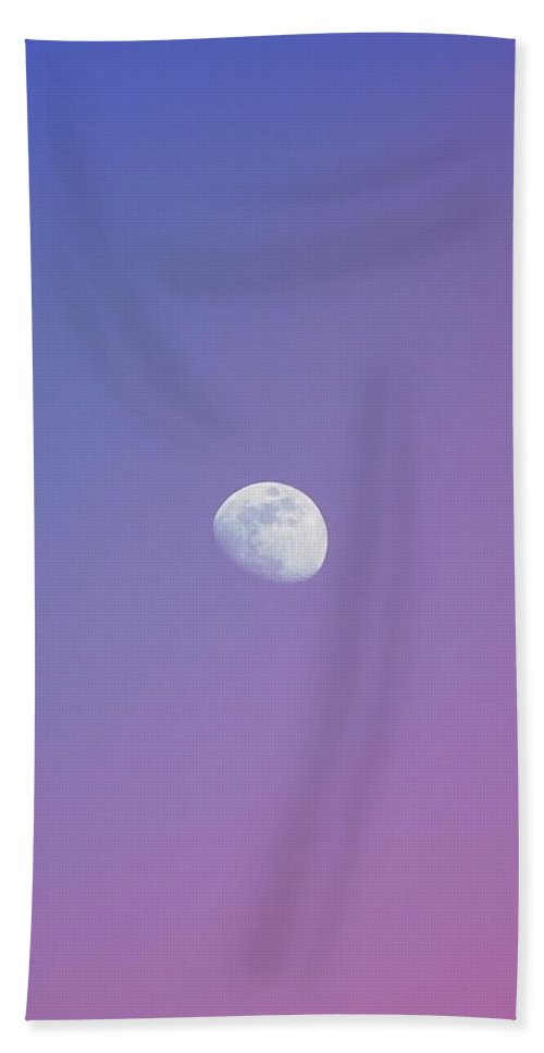 Moon Beach Towel featuring the photograph Purple Moonrise by Carolyne Halfon