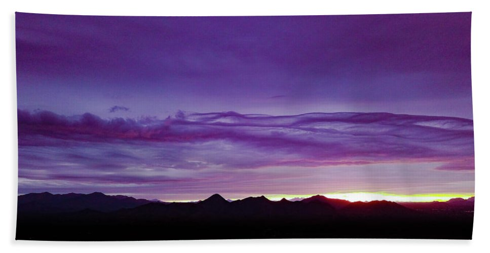 Drone Photography Beach Towel featuring the photograph Purple Mountain Sunset by David Stevens