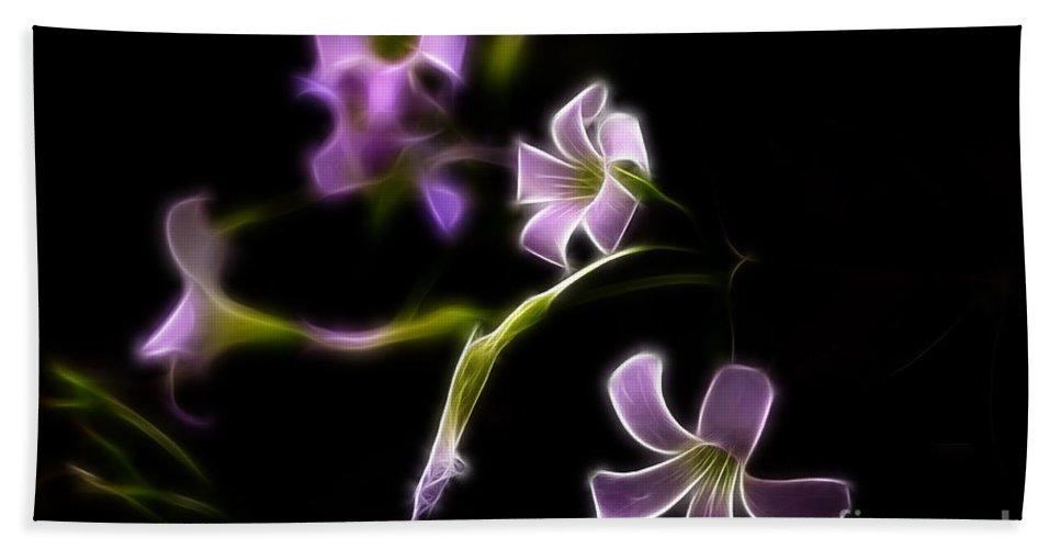Fractalius Beach Towel featuring the photograph Purple On Black by Deborah Benoit