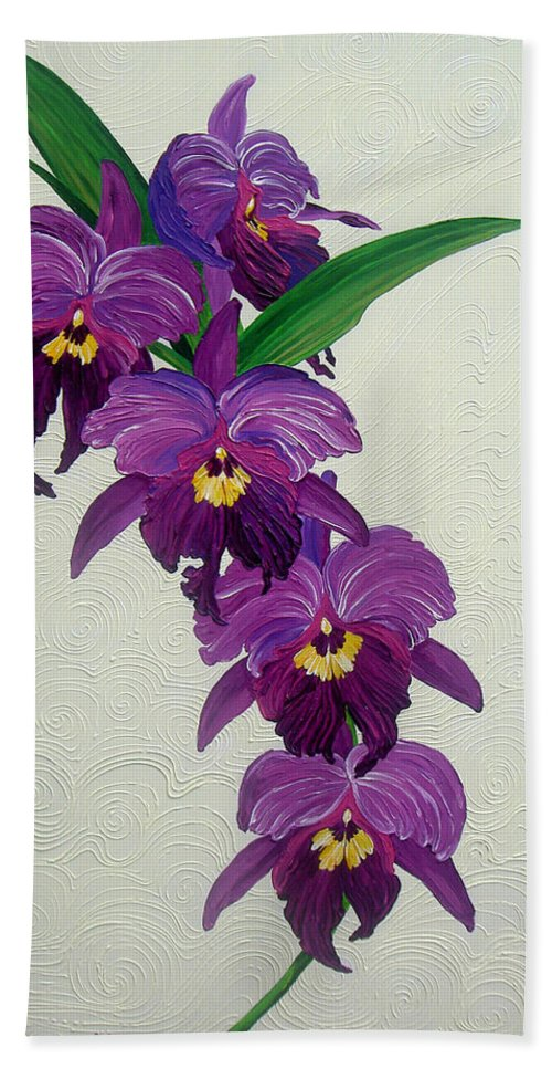 Purple Orchids Beach Towel featuring the painting Purple Orchids by Juan Alcantara