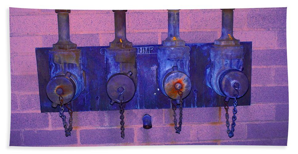 Photograph Beach Towel featuring the photograph Purple Pipes by Thomas Valentine