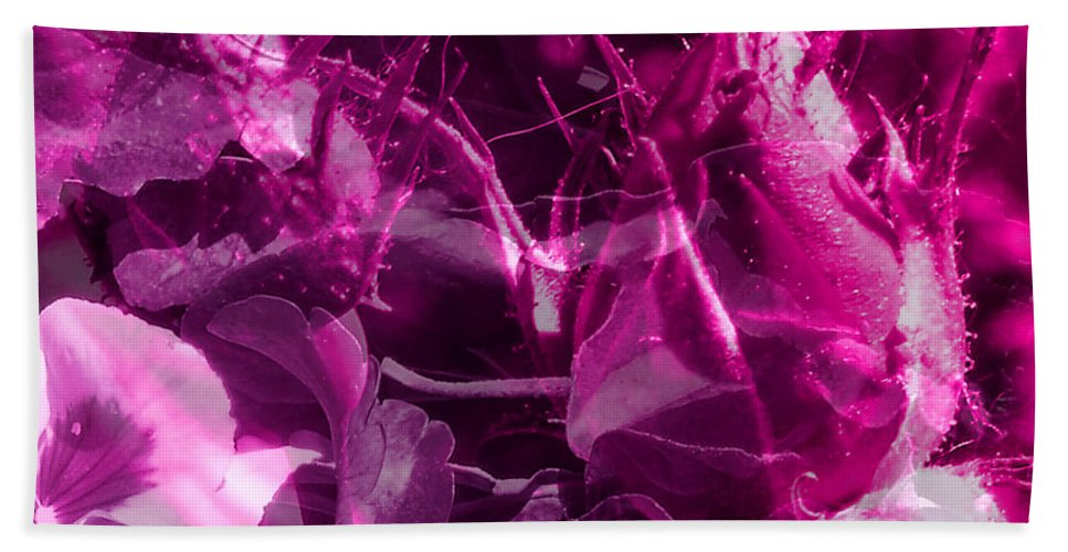 ruth Palmer Beach Towel featuring the digital art Purple Rose And Pansy by Ruth Palmer