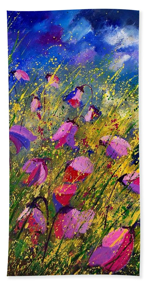 Poppies Beach Sheet featuring the painting Purple Wild Flowers by Pol Ledent