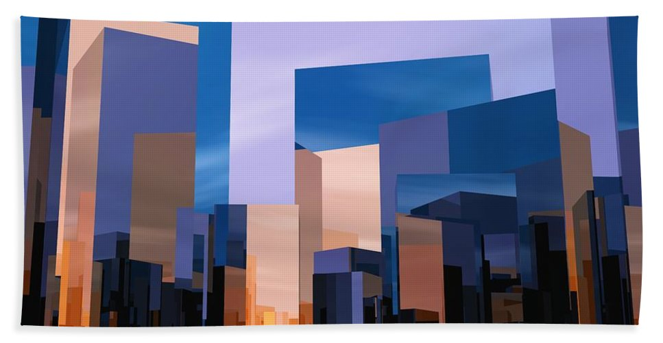 Abstractly Beach Towel featuring the digital art Q-city One by Max Steinwald