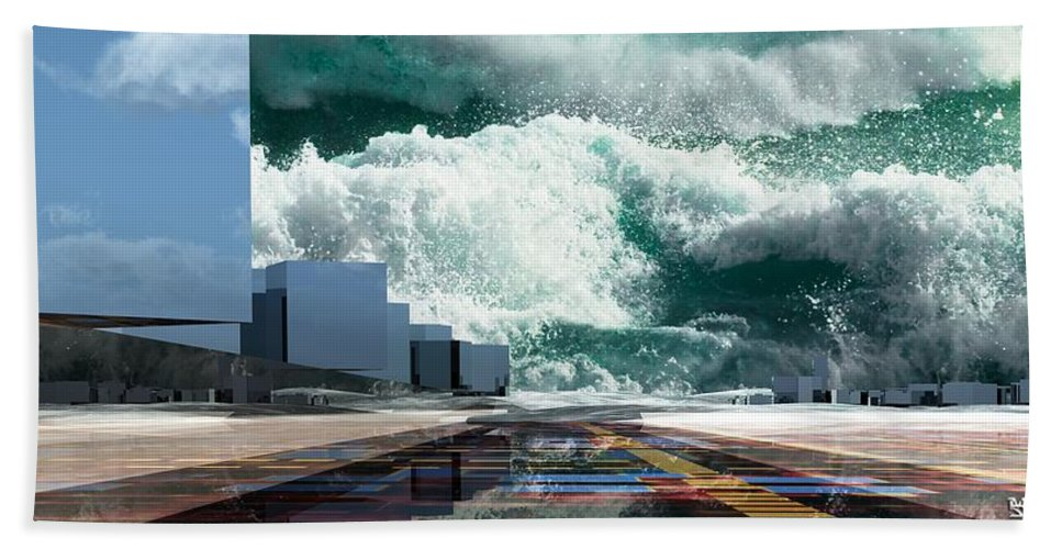Abstractly Beach Towel featuring the digital art Q-city Seven by Max Steinwald