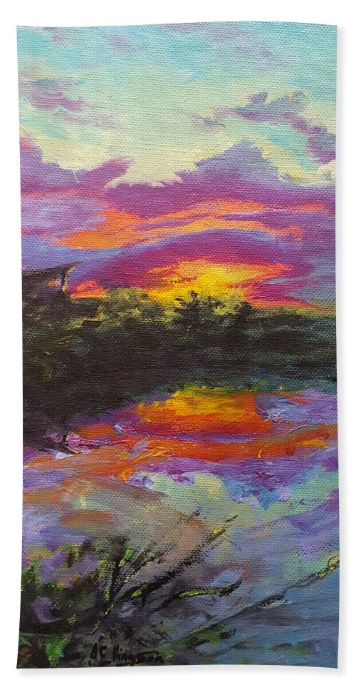Sunset Beach Towel featuring the painting Quail Lake by Andrew Ellingson