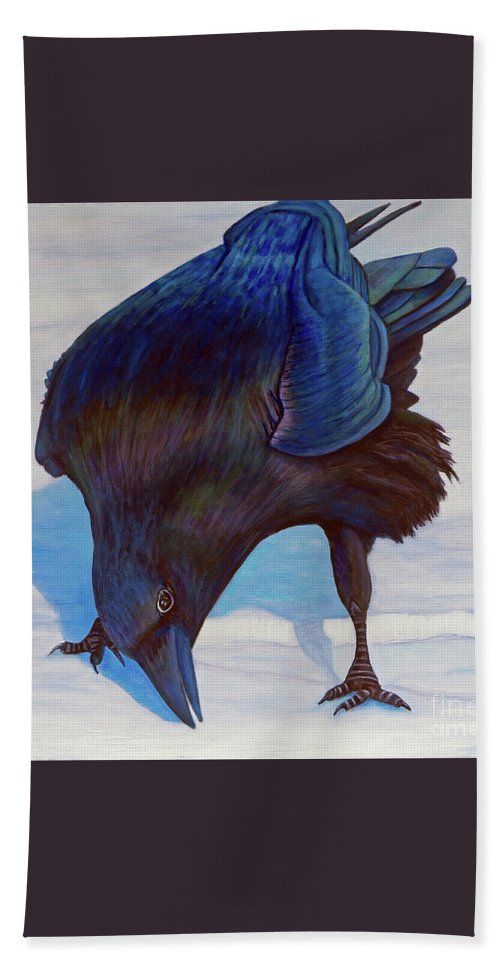 Raven Beach Towel featuring the painting Que Pasa by Brian Commerford