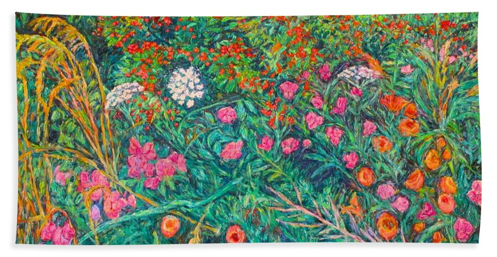Wildflowers Beach Towel featuring the painting Queen Annes Lace by Kendall Kessler