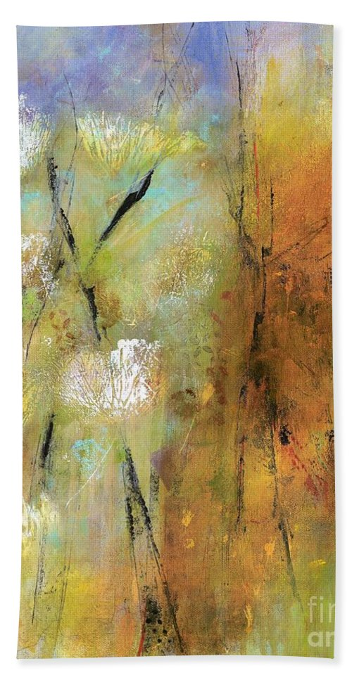 Abstract Art Beach Towel featuring the painting Queen Anns Lace by Frances Marino