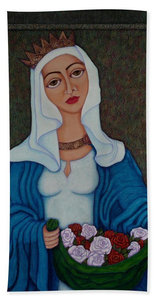 Queen St Isabel Beach Towel featuring the painting Queen St Isabel - The Miracle Of The Roses by Madalena Lobao-Tello