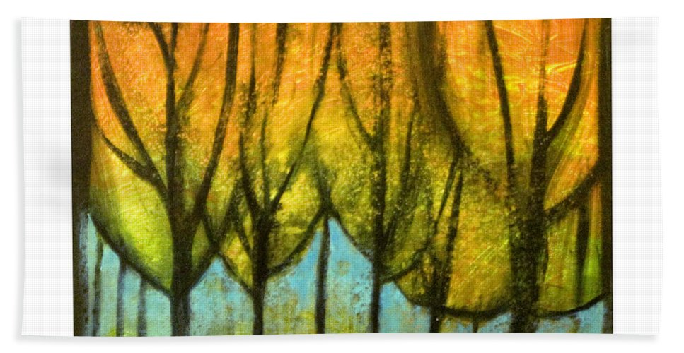 Trees Beach Towel featuring the painting Quiet Blaze by Tim Nyberg
