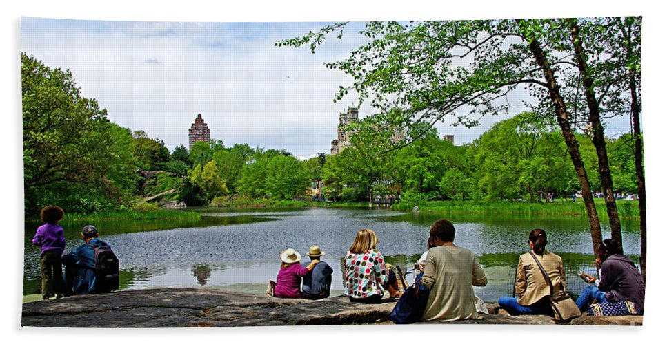 Central Park Beach Towel featuring the photograph Quiet Moment In Central Park by Zal Latzkovich