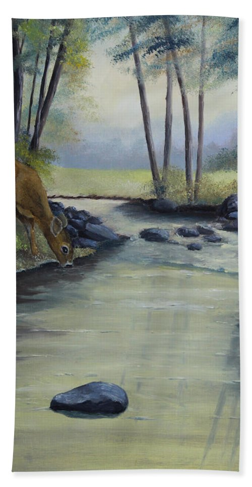 Landscape Beach Towel featuring the painting Quiet Moments by Johanna Lerwick