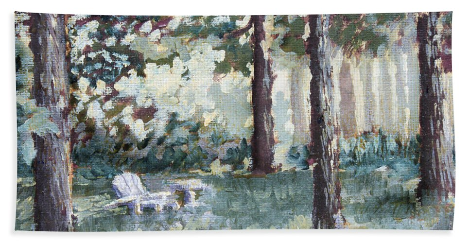 Landscape Beach Towel featuring the painting Quiet Place by Todd A Blanchard