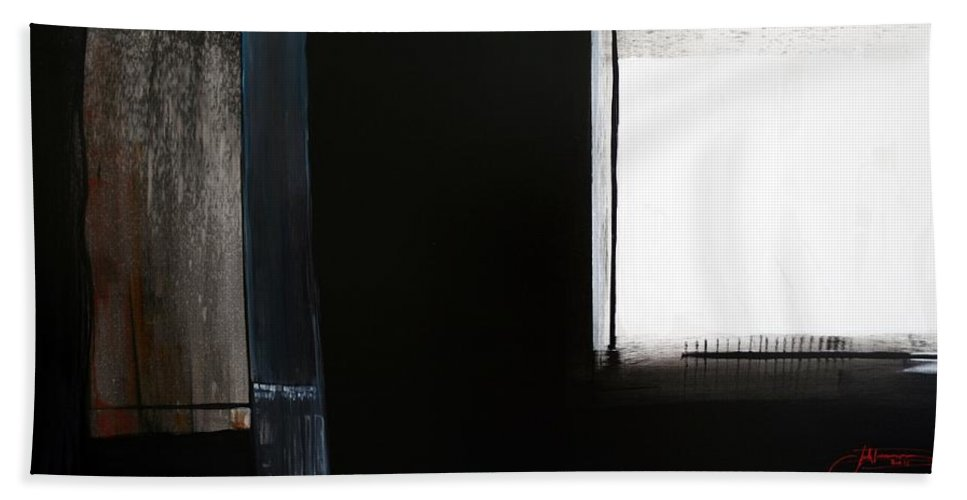 Black Beach Towel featuring the painting Quiet Rain by Jack Diamond