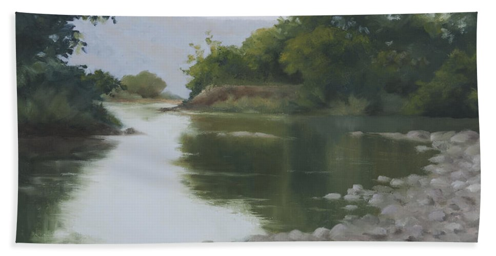 Quiet Beach Towel featuring the painting Quiet Reflection by Mandar Marathe
