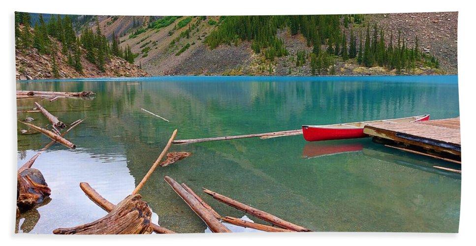 Lake Beach Towel featuring the photograph Moraine Lake I, Alberta by Heather Vopni