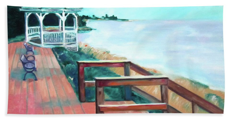 Art Beach Towel featuring the painting Quiet Waters Park by Karen Francis