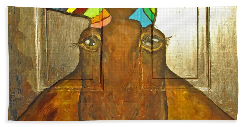 Quigley Beach Towel featuring the painting Quigley The Rustic Colorful Moose by Jost Houk
