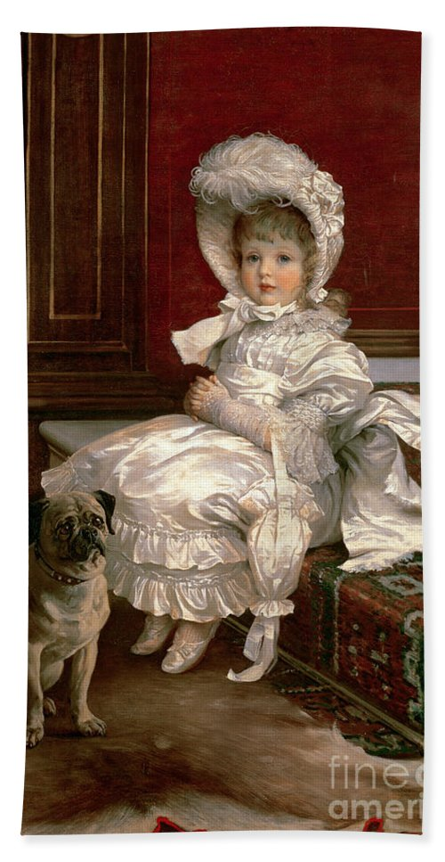 Quite Ready (oil On Canvas) By Philip Richard Morris (1838-1902) Beach Towel featuring the painting Quite Ready by Philip Richard Morris