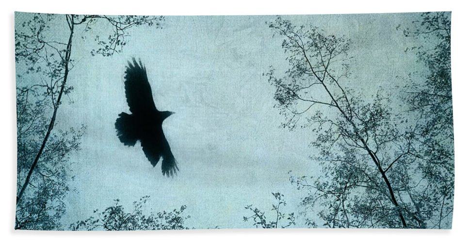 Raven Beach Towel featuring the photograph Spread Your Wings by Priska Wettstein
