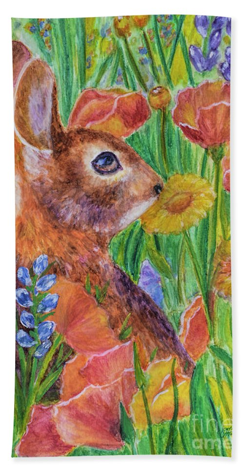 Rabbit In Meadow Beach Towel featuring the painting Rabbit In Meadow by Olga Hamilton