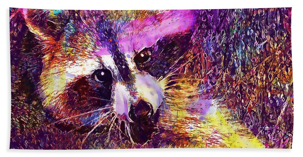 Raccoon Beach Towel featuring the digital art Raccoon Animal Cute Mammal by PixBreak Art