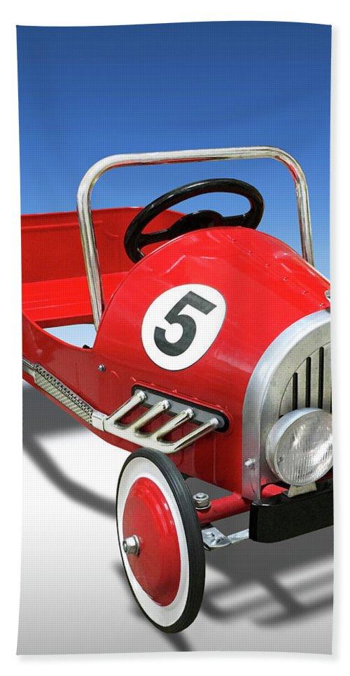 Peddle Car Beach Towel featuring the photograph Race Car Peddle Car by Mike McGlothlen