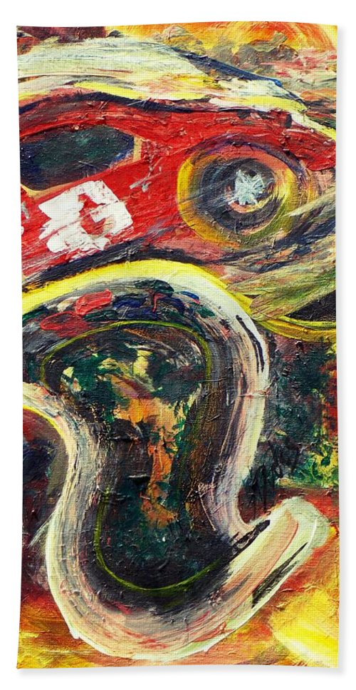 Impressionism Of A Racetrack Melting And A Car As Well. Expressionism With Impasto Paint Freely Applied For The Fluid Nature Of The Subject. Beach Towel featuring the painting Racetrack Melting by Thomas Dudas