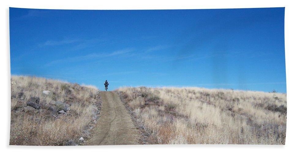 Racing Bike Beach Towel featuring the photograph Racing Over the Horizon by Heather Kirk