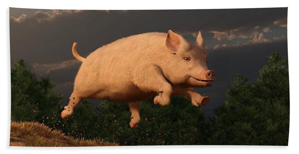Pig Beach Towel featuring the digital art Racing Pig by Daniel Eskridge