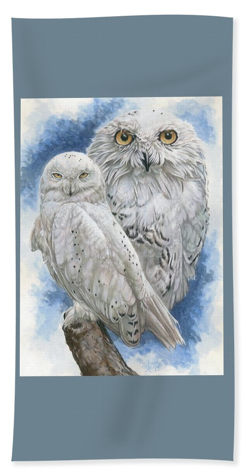 Snowy Owl Beach Towel featuring the mixed media Radiant by Barbara Keith