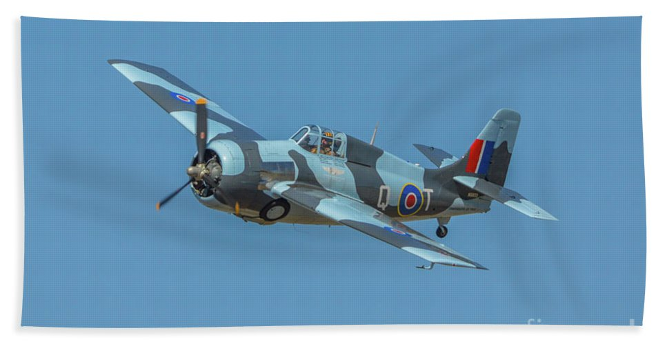 Grumman Gm Fm-2wildcat Beach Towel featuring the photograph Raf Fm-2 Wildcat by Tommy Anderson
