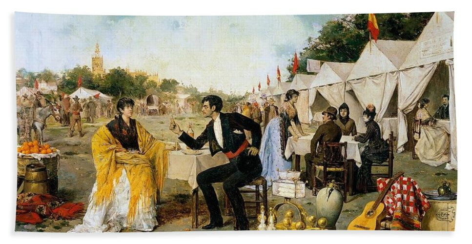 Man Beach Towel featuring the painting Rafael Arroyo Fernandez, At The Fair 1886 by Artistic Rifki