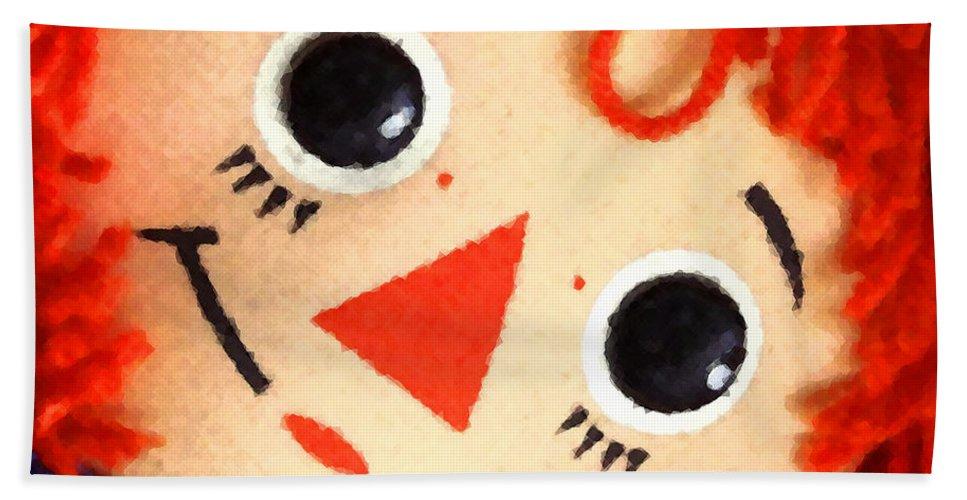 Doll Beach Towel featuring the digital art Raggedy Ann by Timothy Bulone