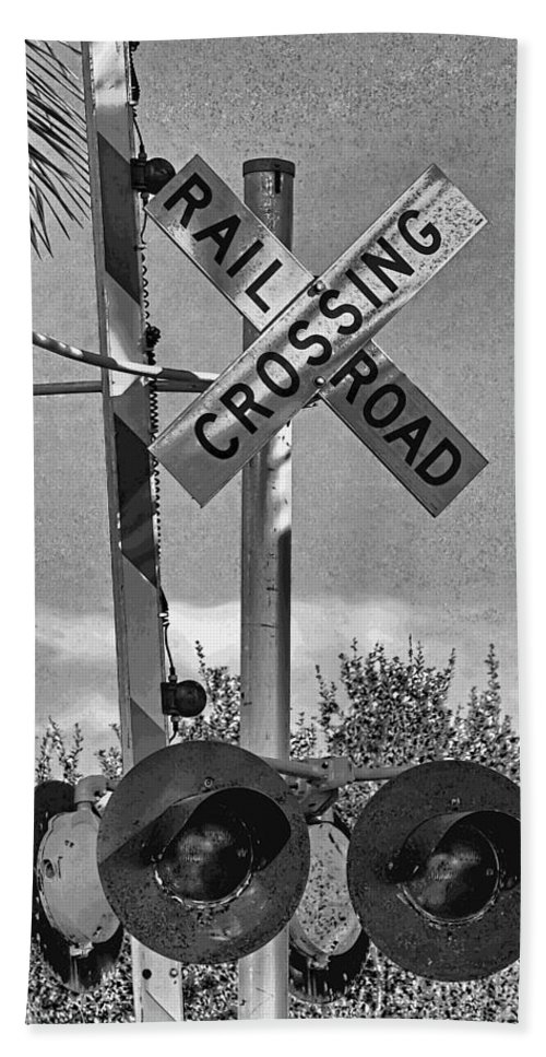 Railroad Crossing Beach Towel featuring the photograph Railroad Crossing Sign B W By H H Photography Of Florida by HH Photography of Florida