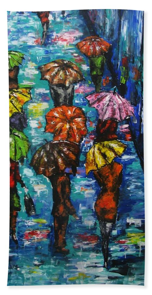 Rainy Landscape Beach Towel featuring the painting Rain Fantasy Acrylic painting by Natalja Picugina