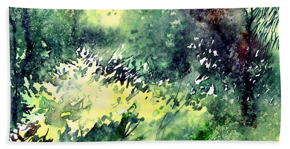 Landscape Watercolor Nature Greenery Rain Beach Towel featuring the painting Rain Gloss by Anil Nene