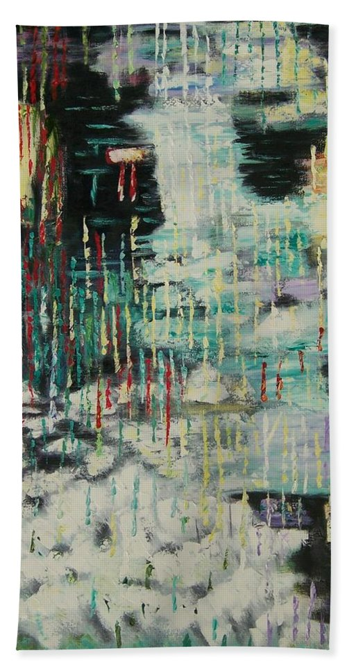 Abstract Rain Over Water Beach Towel featuring the painting Rain In My Soul by Linda King