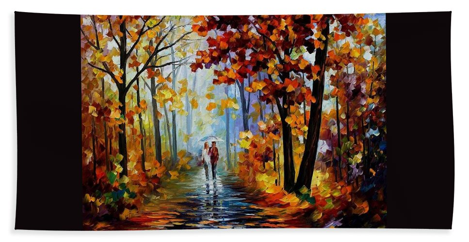 Afremov Beach Towel featuring the painting Rain In The Woods by Leonid Afremov